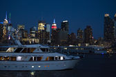 Manhattan seen from the Hudson River at night - New York City, United States of America — Stock Photo