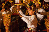 Balinese boys play gamelan during ceremony in the temple - Bali - Indonesia — Stock Photo