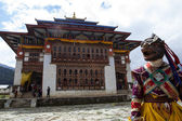 Monks dancing at the Tchechu festival in Ura - Bumthang Valley in Bhutan — 图库照片