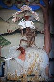 Colorful murals inside Trashi Chhoe Dzong monastery in Thimphu, Bhutan — Stock Photo