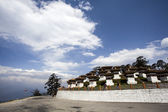 Dochu La Chorten, a famous Buddhist place of worship on top of a mountain in Western Bhutan, Asia — Stock Photo