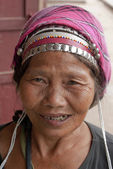 Old lady in local tribe costume in Muang Sing - North Laos - Asia — Stock Photo