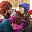 Happy  friends having fun outdoor in winter — Stock Photo