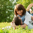 Romantic relationship at summer picnic — Stock Photo