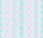 Retro seamless pattern of hearts, flowers and circle in pastels colors — Stock Vector