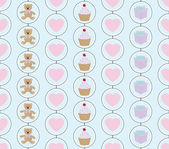 Baby vector illustration: pastels color seamless pattern of hearts, teddy bears and gifts — Stock Vector