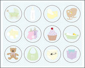 Baby icons set — Stock Vector