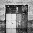 Boarded Up Warehouse Window - Stock Photo