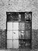 Boarded Up Warehouse Window — Stock Photo