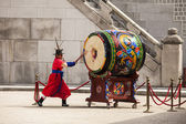 Striking The Ceremonial Drum — Стоковое фото