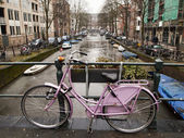 Bicycle With Amsterdam Canal — Stock Photo