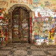 Wood Door In The Lennon Wall — Foto de Stock
