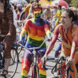 Rainbow Cyclist In Solstice Parade — Stock Photo