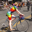 Painted Cyclist In Rainbow — Stock Photo