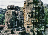 Faces On The Bayon Temple Towers — Stock Photo