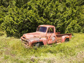 Red Truck By Forest — Stock Photo