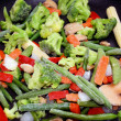 Frozen Vegetables In Skillet - ready for cooking — Stock Photo