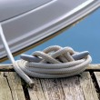 Boat Tied To Dock — Stock Photo