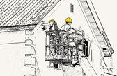 Workmen On Hoist — Stock Photo