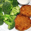 Chicken Patties And Broccoli — Stock Photo