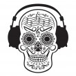 Music Skull — Stock Vector