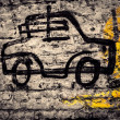 Graffiti Car Drawing on a Brick Wall — Stock Photo
