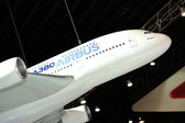 Airbus A380 model on display at Singapore Airshow 2014 — Stock Photo
