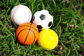 Baseball, Soccer ball, Softball and Basketball — Stock Photo