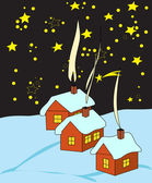Magic December night before Christmas — Stock Vector