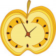 Apple clock — Stock Vector