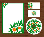 Identity template with oranges and leaves — Stock Vector