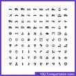 100 transportation icons set. — Stock Vector #43436999