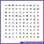 100 transportation icons set. — Stock Vector