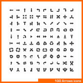 100 arrows icons set. — Vector de stock