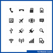 Mobile icon set. — Stock Vector