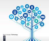 Technology background. Brain concept — Stock Vector