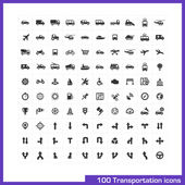100 transportation icons set. — Vetorial Stock