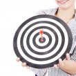 Businesswoman with dart board — Foto de Stock