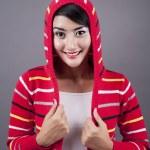 Cute female wearing sweater — Stock Photo