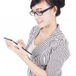 Happy woman using tablet — Stock Photo