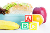 Closeup of school lunch — Stock Photo