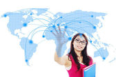College student global networking — Foto Stock