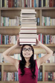 Active student in library — Stock Photo
