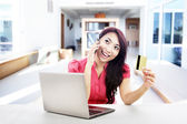 Online payment with credit card — Stock Photo