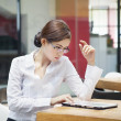 Businesswoman with ipad — Stock Photo