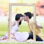 Romantic couple in autumn — Stock Photo