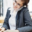 young businesswoman working at restaurent — Stock Photo