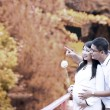 Happy pregnant couple in autumn - Stock Photo