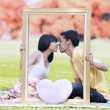 Romantic couple in autumn 1 - Stock Photo