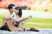 Sweet couple in autumn day — Stock Photo